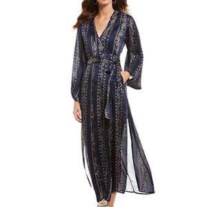 Astr navy print maxi kimono dress